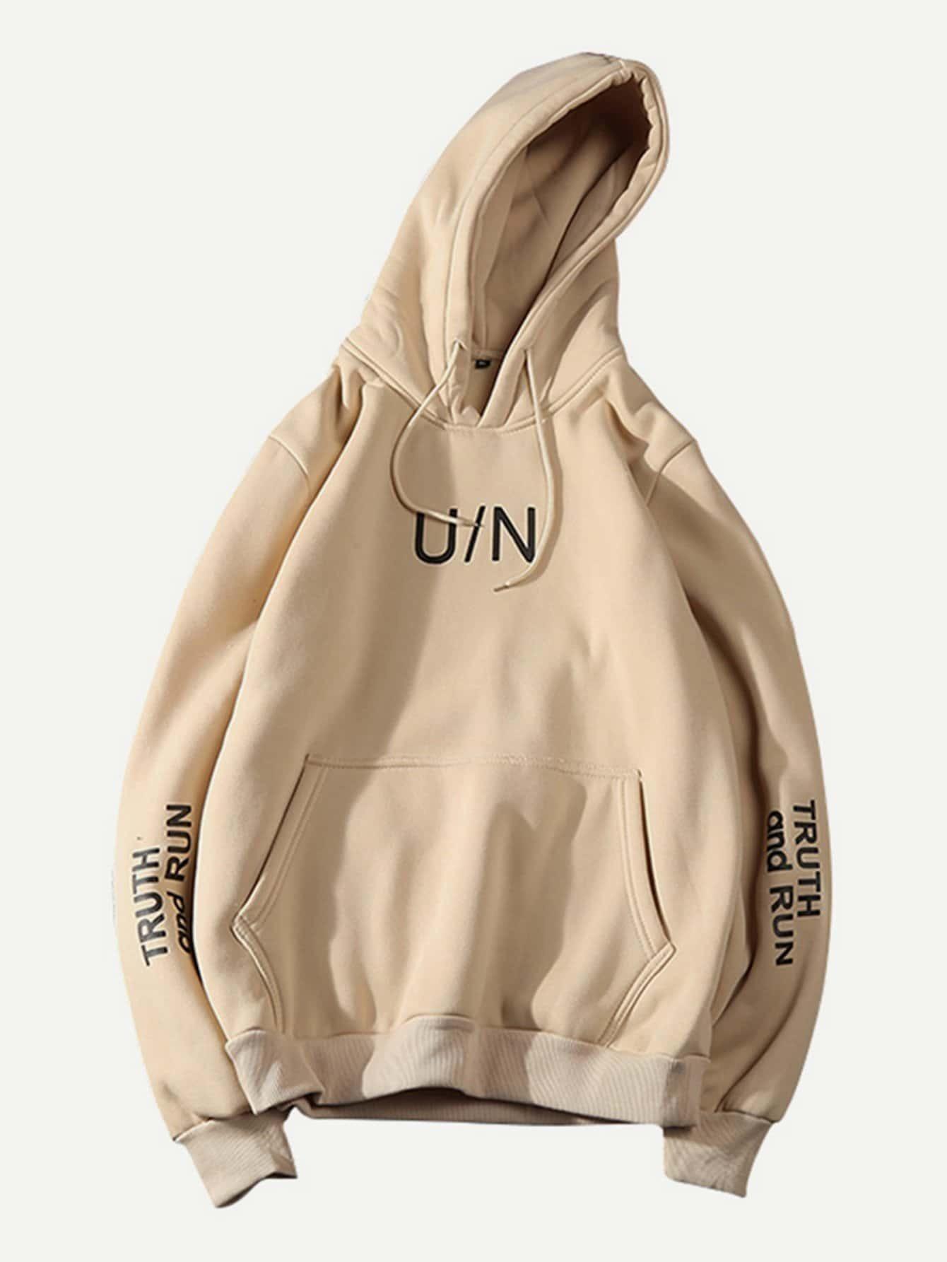 Men Letter Print Pocket Hoodie Sweatshirt letter print raglan hoodie