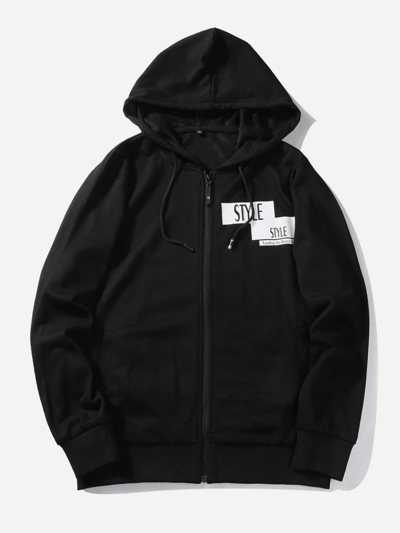 Men Letter Print Hoodie Zipper Coat letter print raglan hoodie