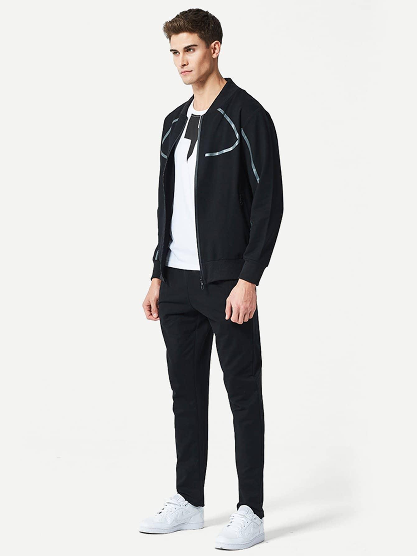 Men Plain Coat With Drawstring Pants