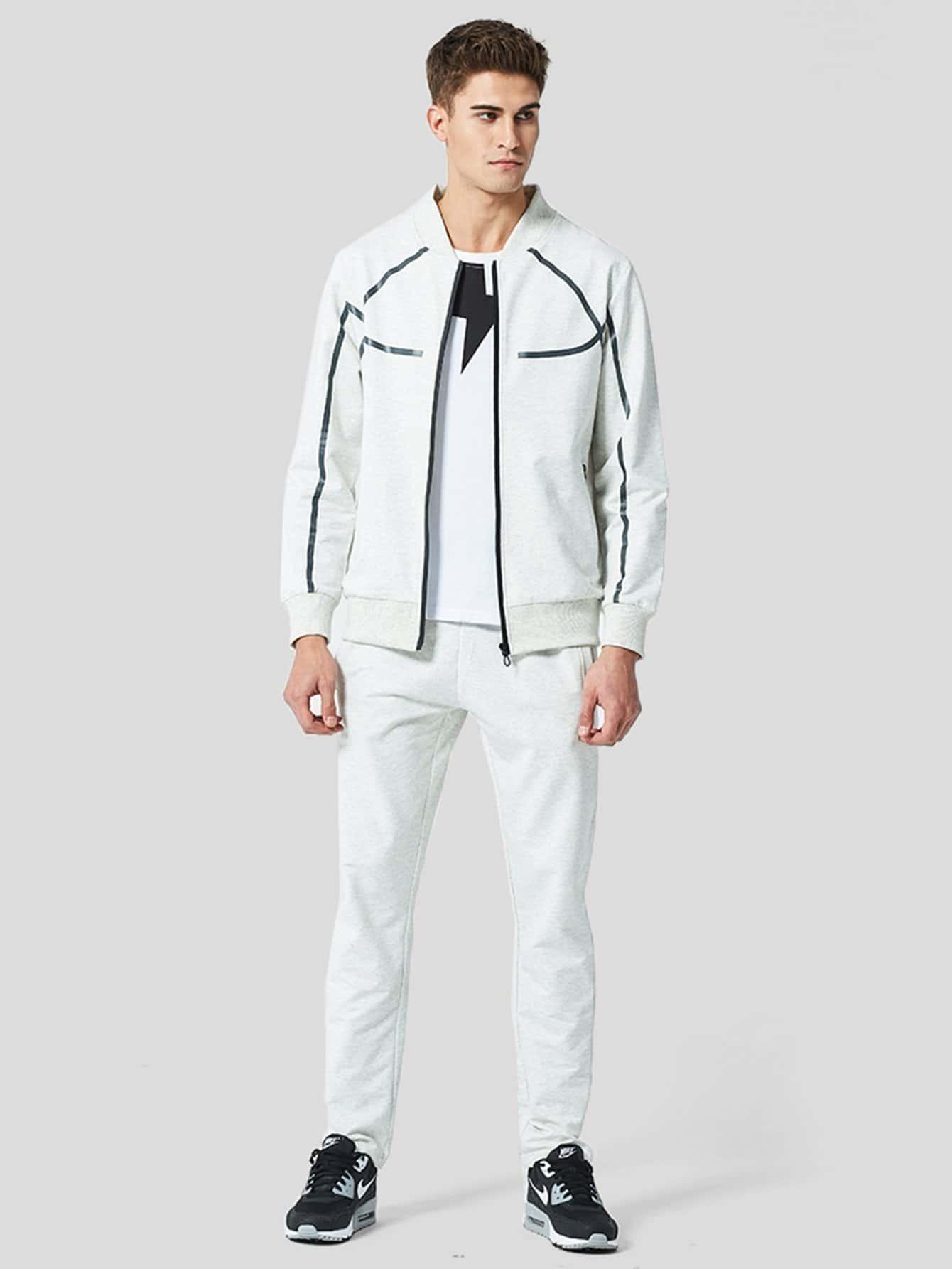 Men Plain Coat With Drawstring Pants кпб cl 219
