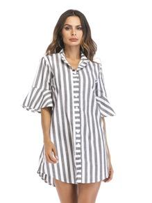 Flounce Sleeve Stripe Shirt