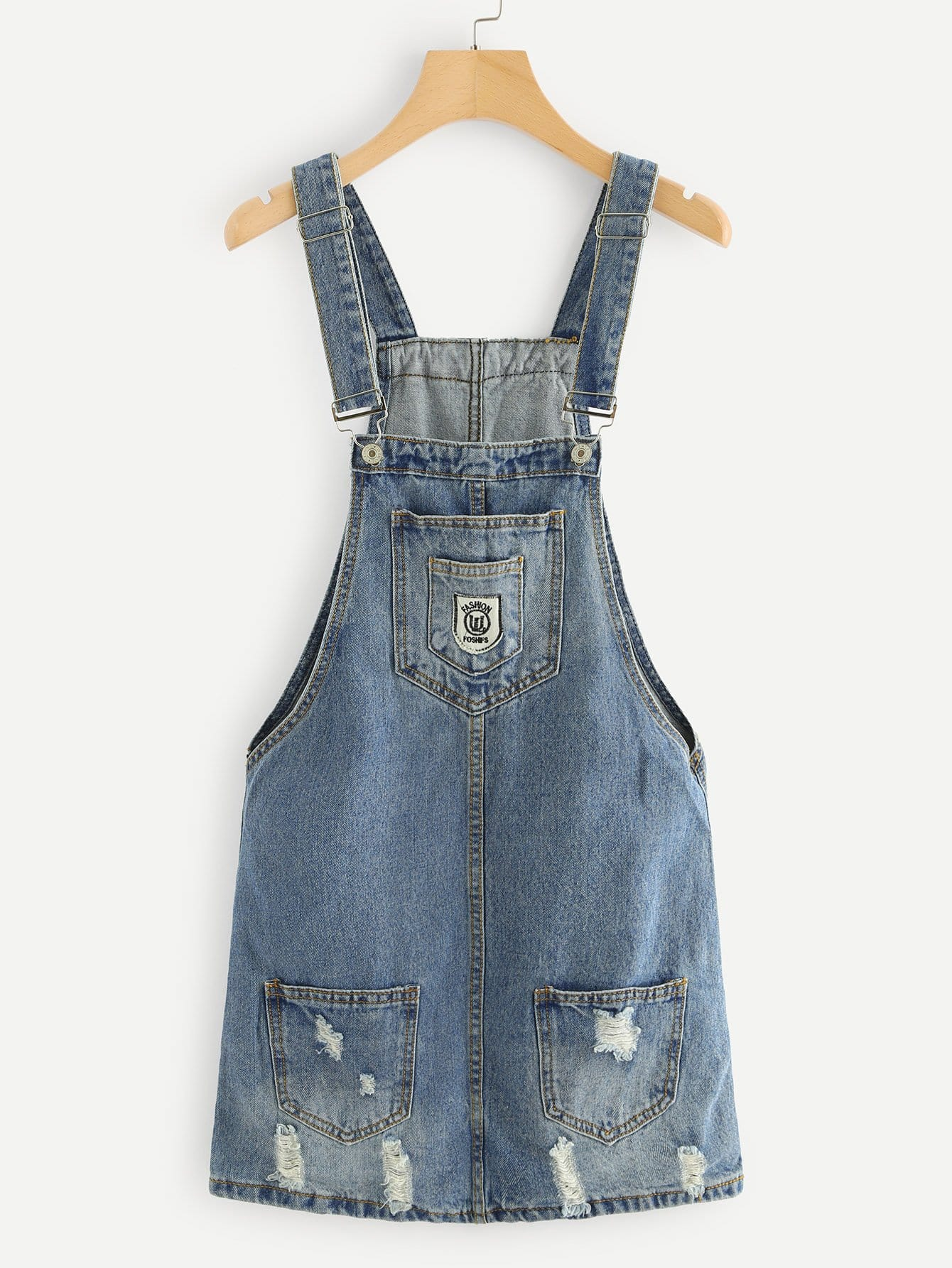 Ripped Overall Denim Dress overall yumi overall