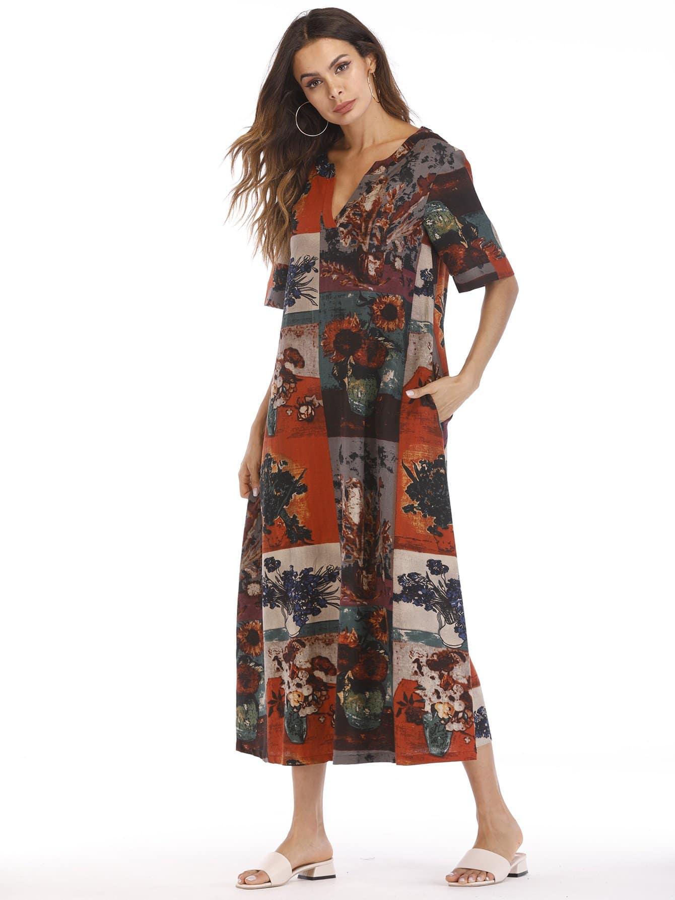 Купить Длинное платье с v воротником в цветочек, null, SheIn