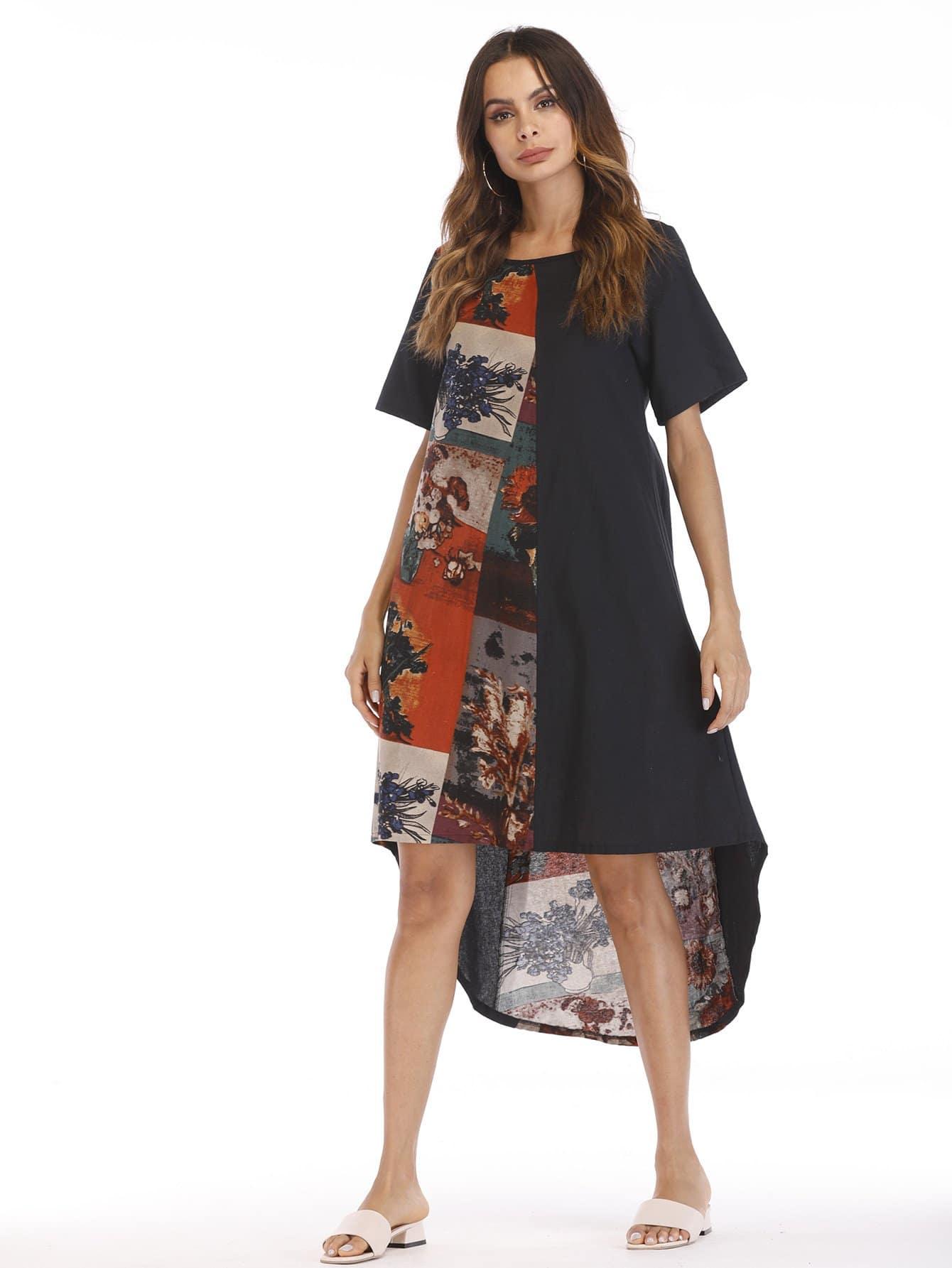 Floral Print High Low Dress emoji print high low night dress