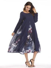 Floral Print Chiffon Contrast Dress