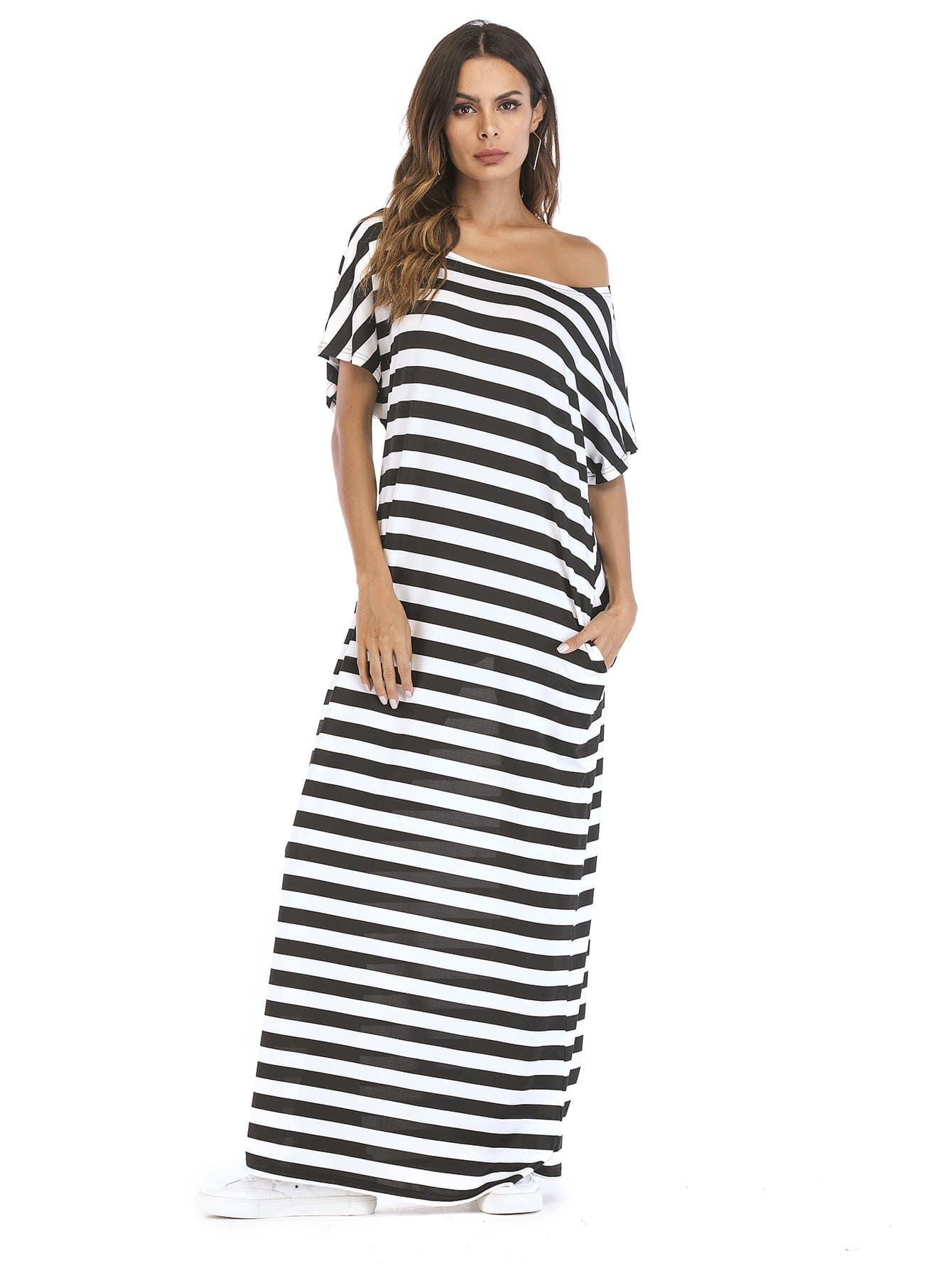 Hidden Pocket Longline Stripe Dress hidden pocket striped dress