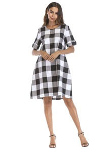 Check Plaid Roll Up Sleeve Dress