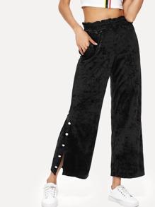 Button Side Velvet Wide Leg Pants