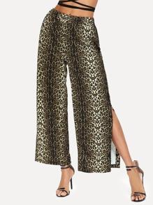 Leopard Print Split Side Wide Leg Pants