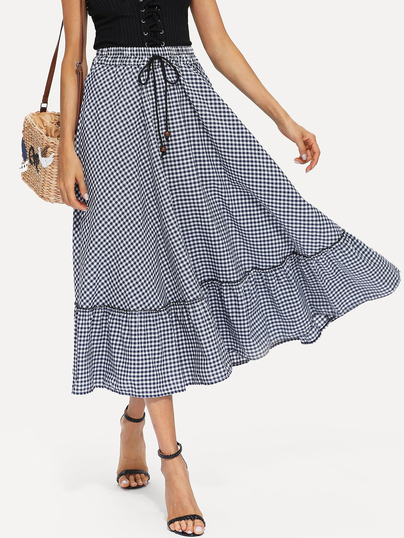 Ruffle Hem Drawstring Waist Gingham Plaid Skirt ruffle hem button detail gingham skirt
