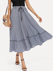 Ruffle Hem Drawstring Waist Gingham Plaid Skirt