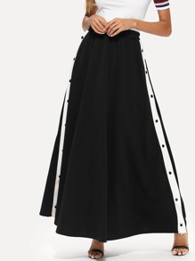 Stripe Contrast Button Side Skirt