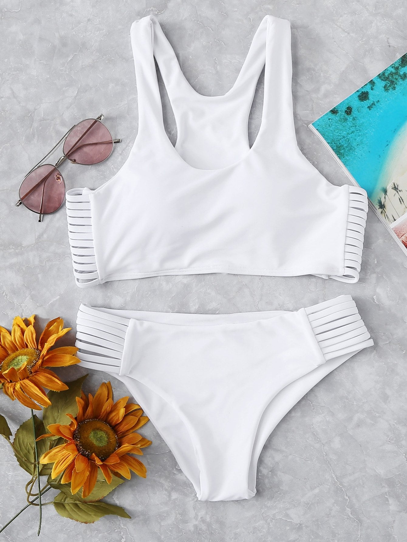 Strappy Side Bikini Set watercolor strappy bikini set