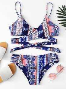 Ornate Print Cross Wrap Bikini Set