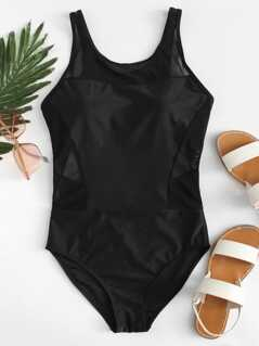 Mesh Panel Cutout Back Swimsuit