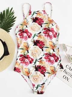Rose Print Halterneck Swimsuit
