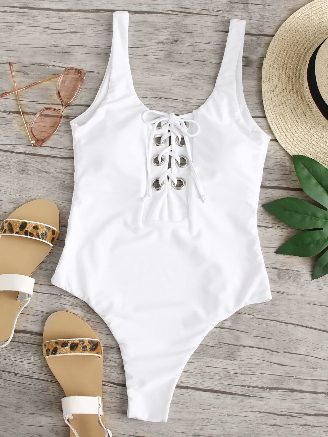 Eyelet Lace Up Front Swimsuit