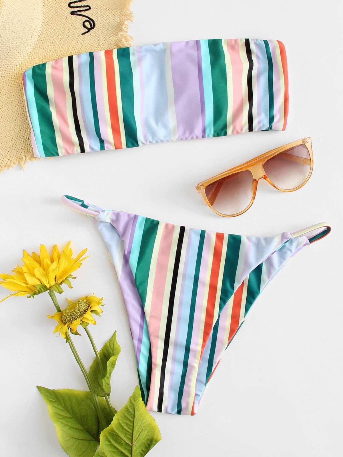 Striped Bandeau Bikini Set by Romwe