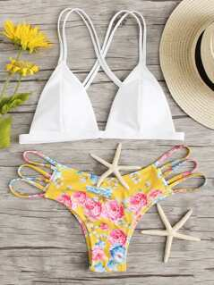 Strappy Top With Floral Ladder Cutout Bikini Set