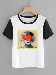 Contrast Sleeve Flower Applique Portrait Patch Tee