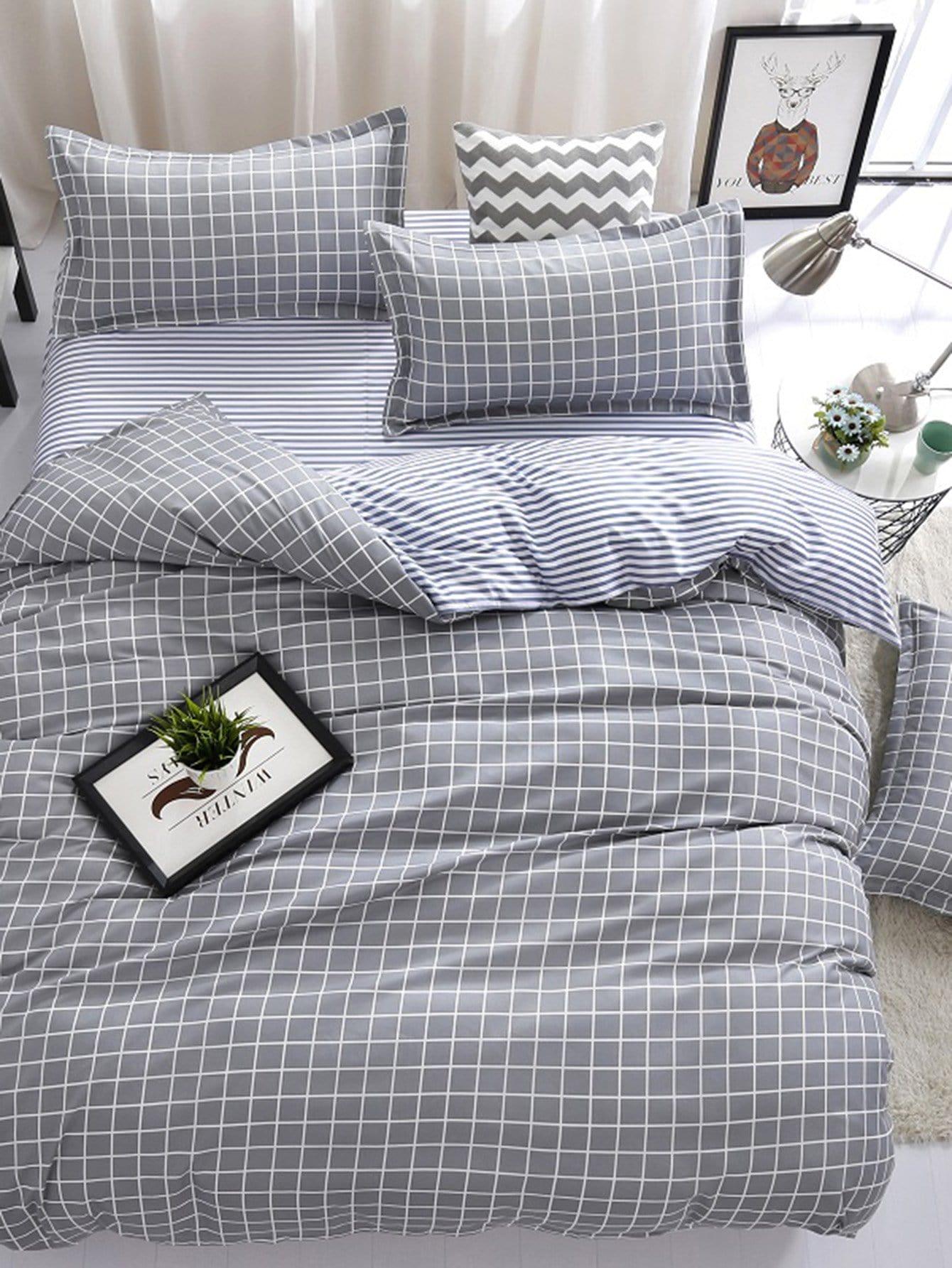 Checked Print Bedding Set heart print bedding set