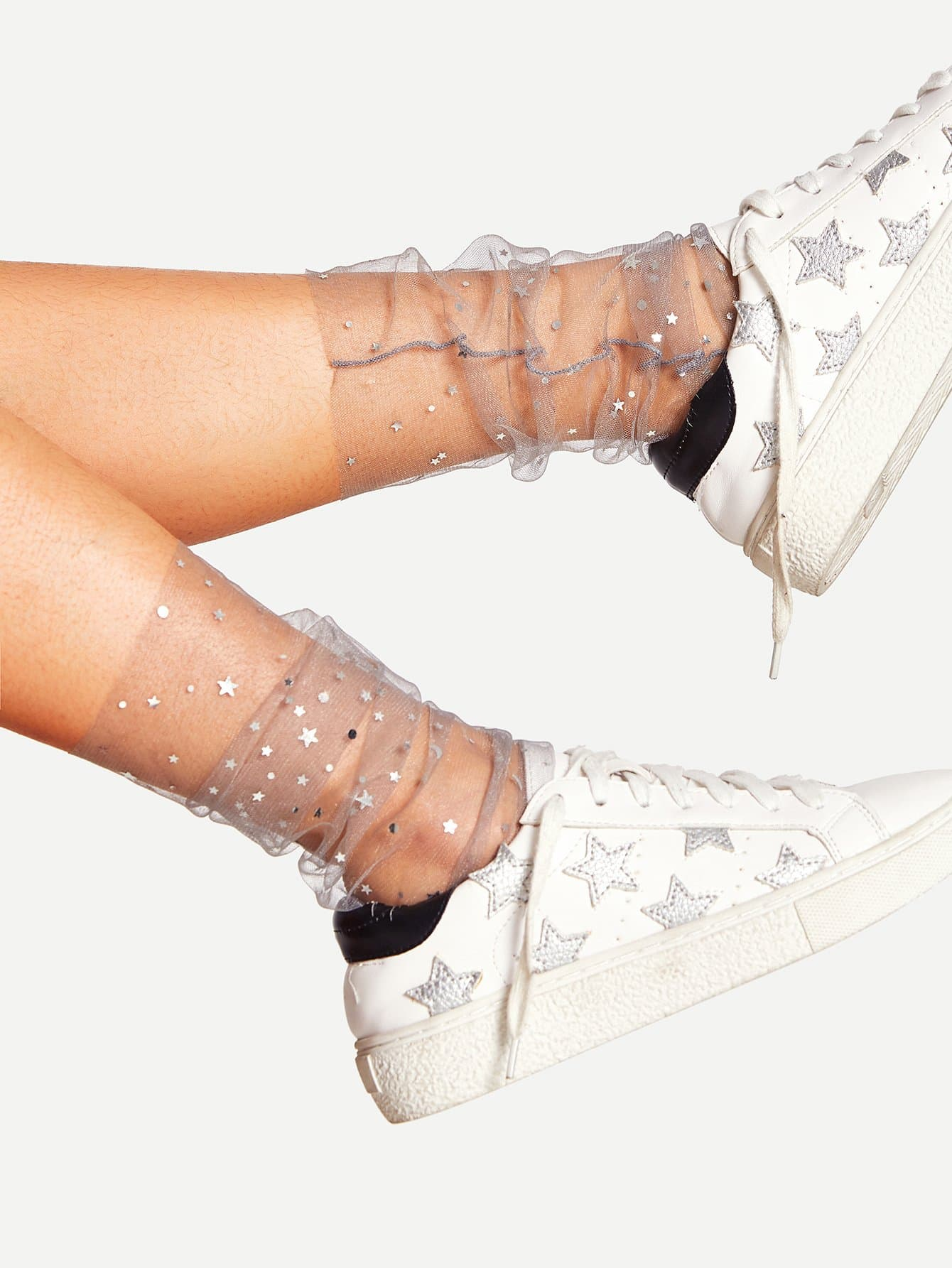 Galaxy Pattern Slouch Mesh Ankle Socks 1 Pair flower pattern mesh ankle socks