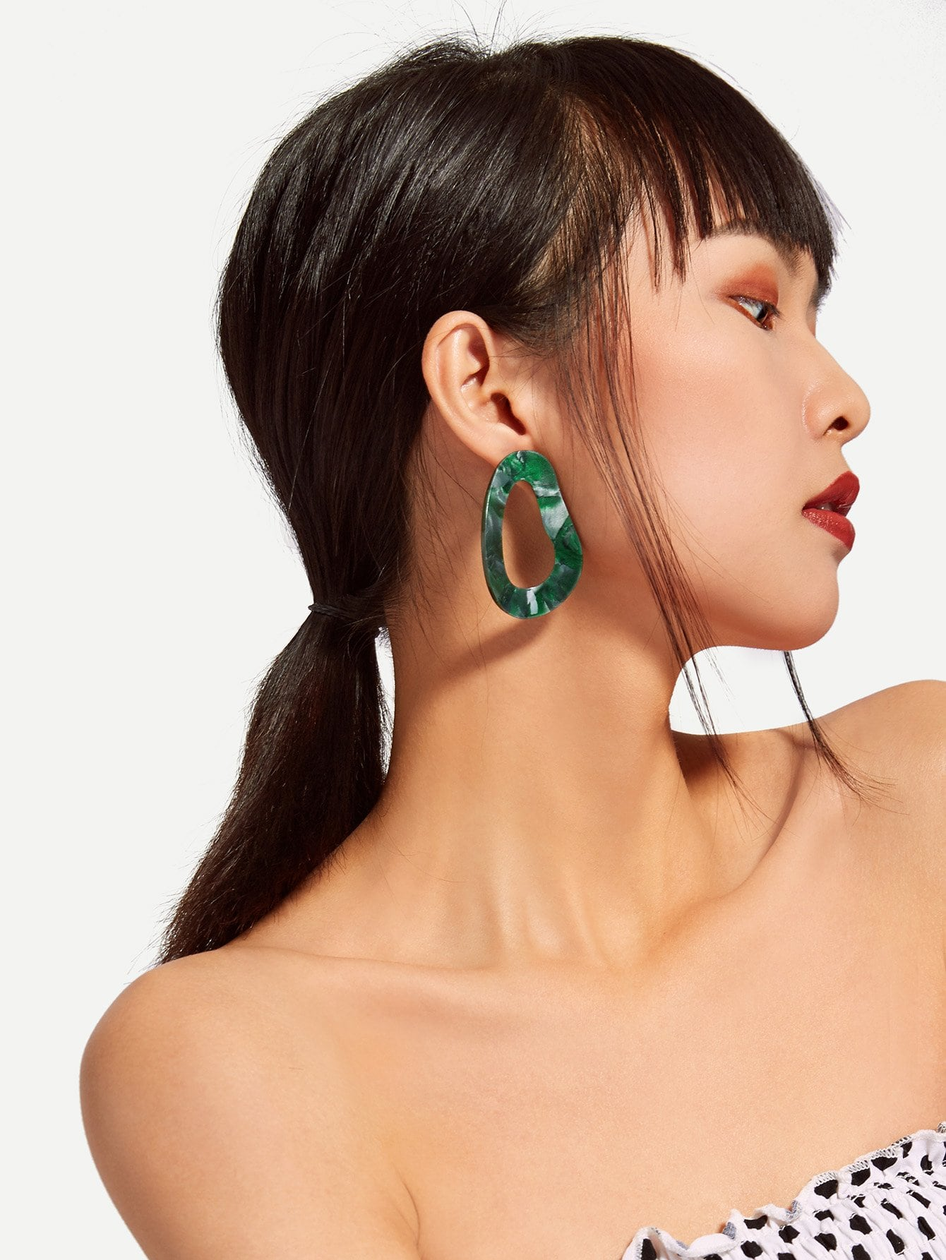 Irregular Shaped Design Drop Earrings hollow water drop shaped drop earrings