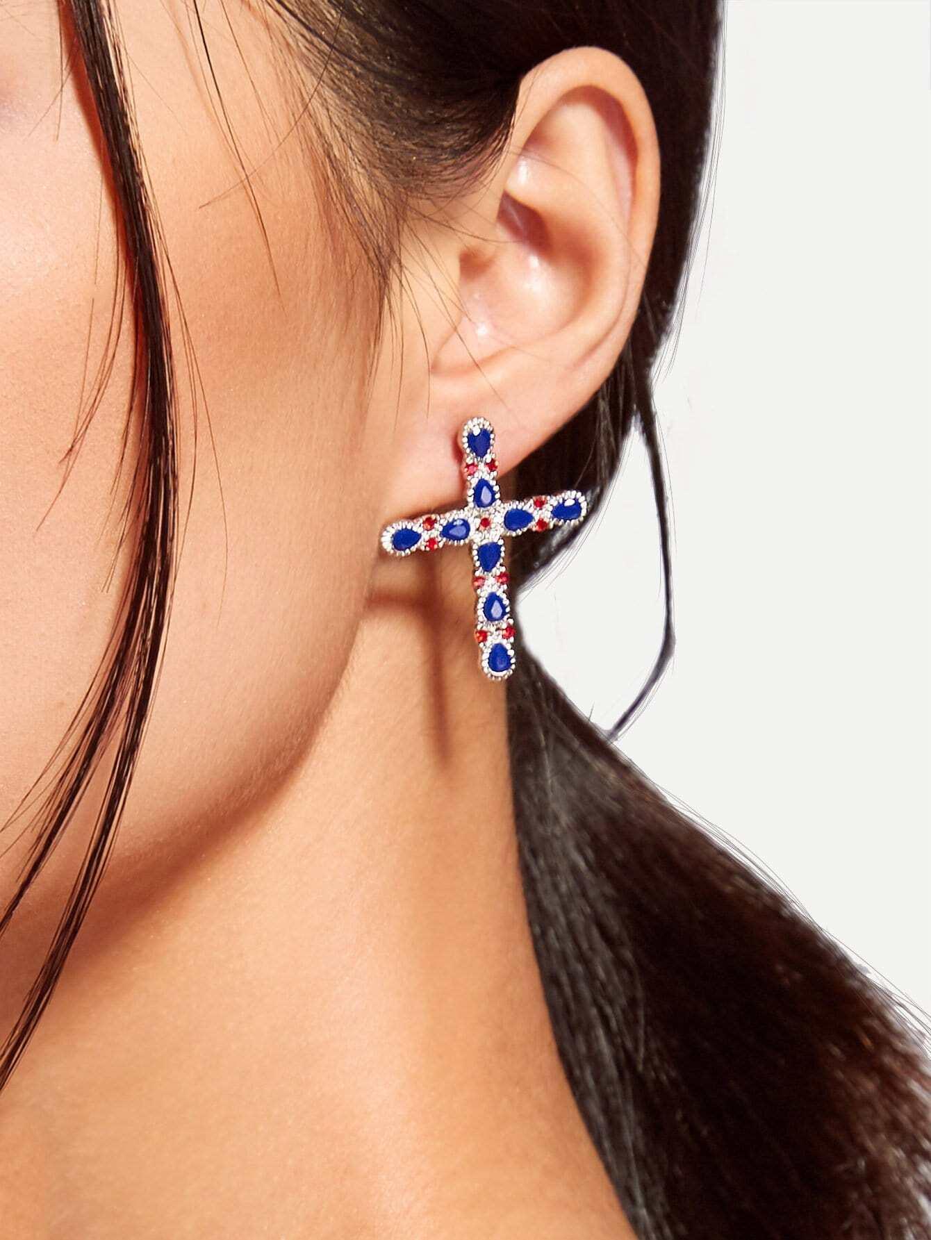 Cross Design Drop Earrings With Rhinestone two tone cross design drop earrings