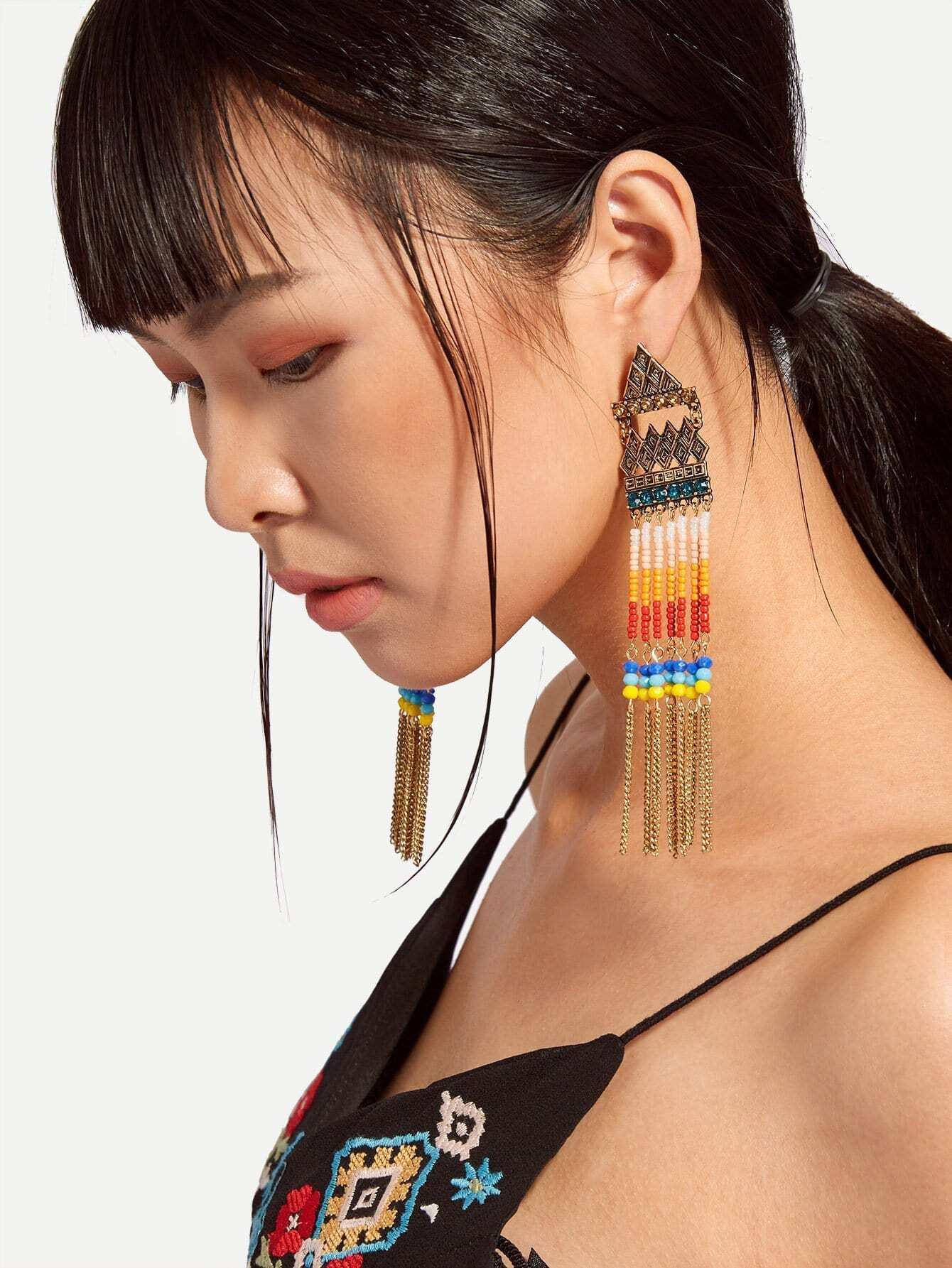 Beaded & Chain Detail Long Drop Earrings medallion colorful beaded drop earrings