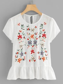 Flower Embroidered Ruffle Hem Top