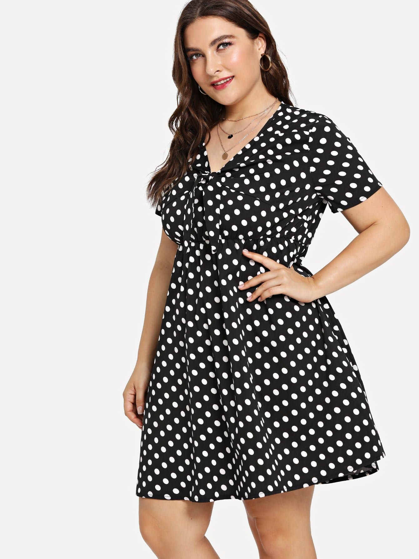 Knot Front Fit & Flare Dot Dress white loose fit knot pattern front sweatshirt