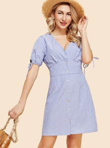 Knot Cuff Double V Neck Pinstripe Dress