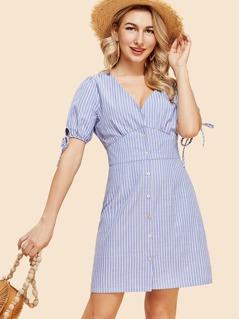 Knot Cuff Double V Neck Pinstripe Dress