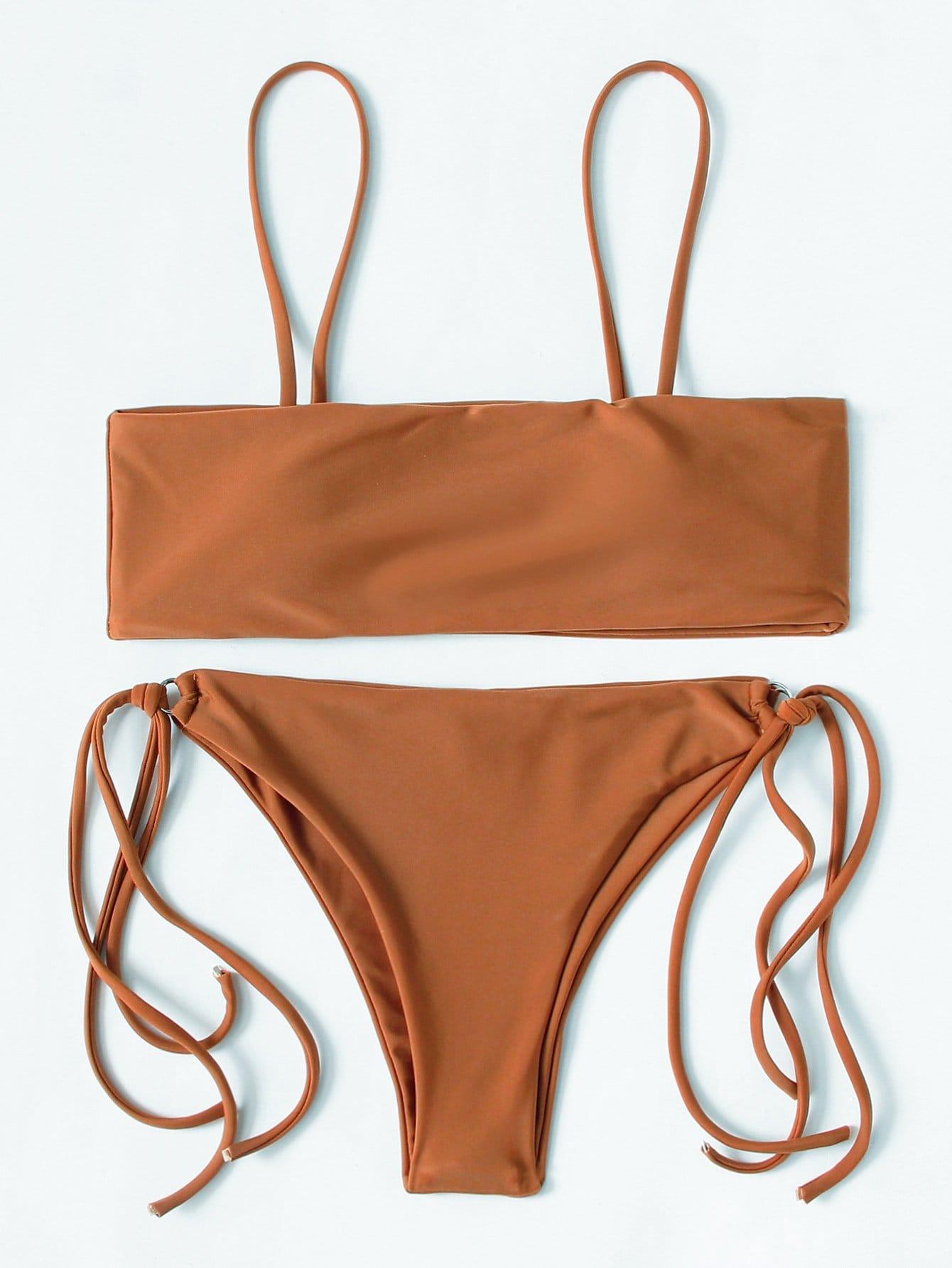 Ring Detail Strappy Bikini Set watercolor strappy bikini set
