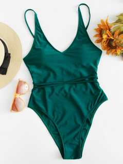 Twist Detail Solid Swimsuit