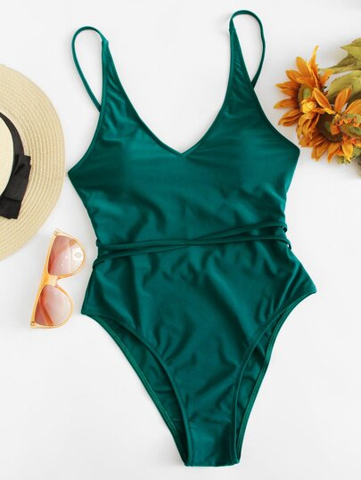 e6ad440382d Home · Swimwear · One-Pieces; Lace Up High Leg One Piece Swimsuit