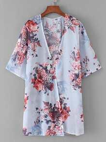 Floral Print Tiered Back Kimono
