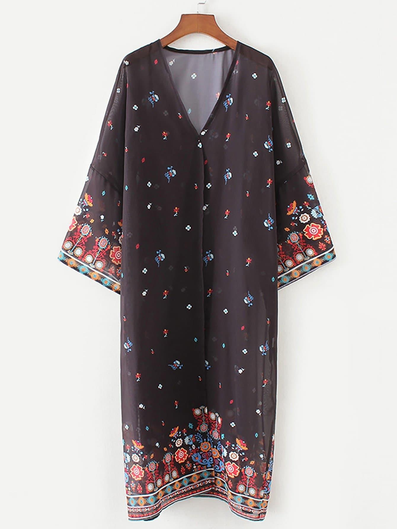 Geo Print V Neckline Kimono