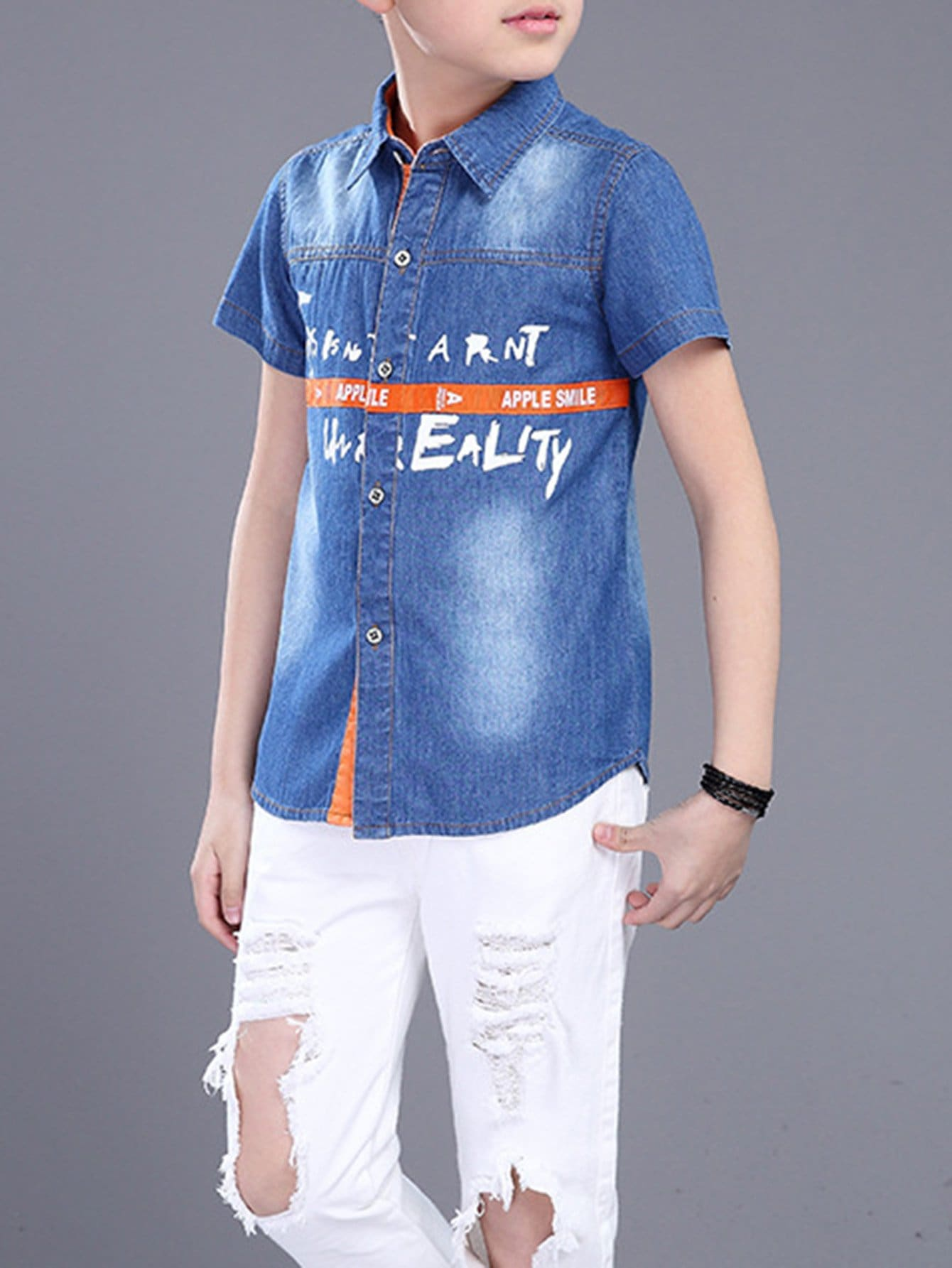 все цены на Kids Denim Single Breasted Letter Print Shirt
