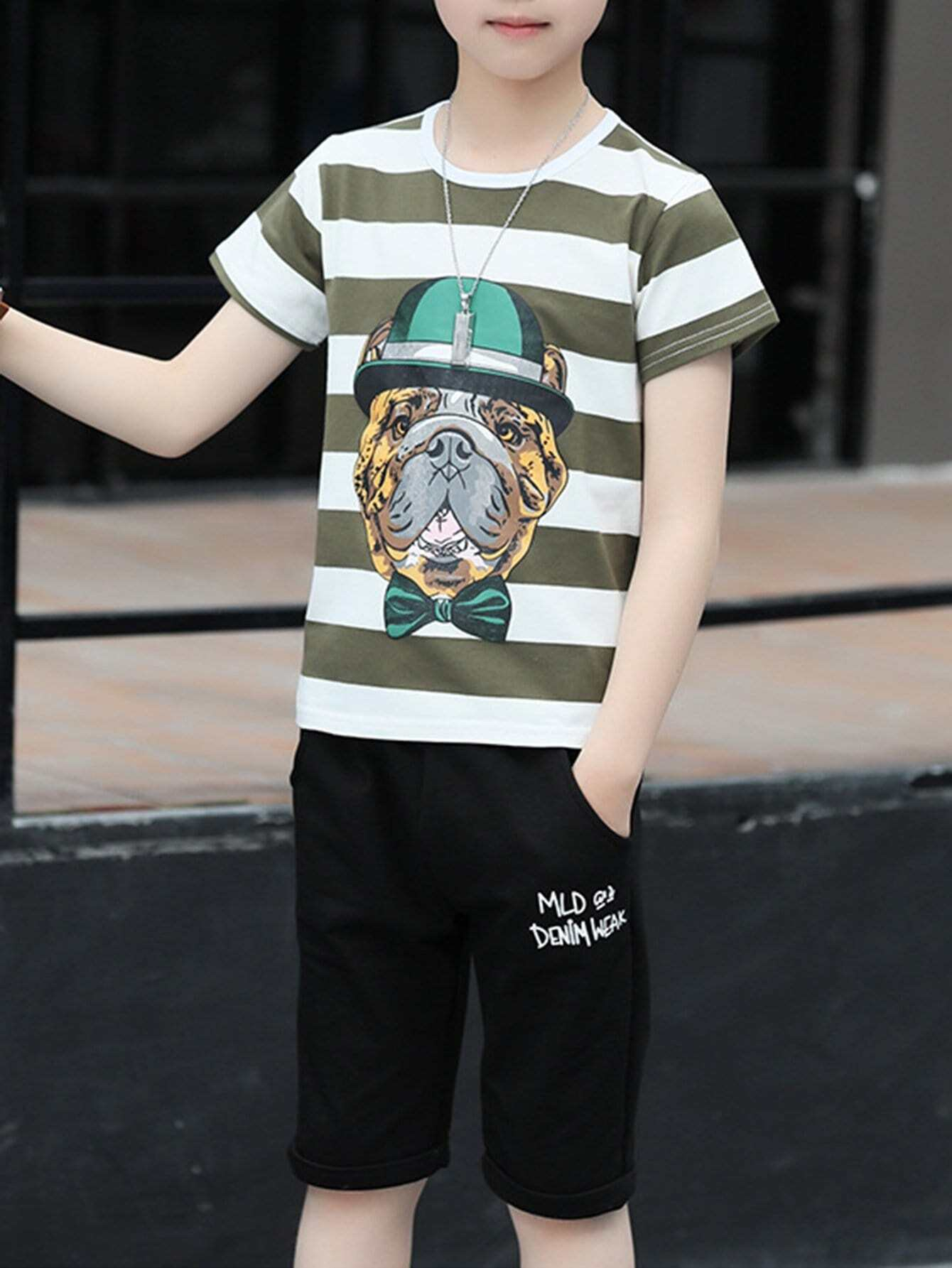 Kids Puppy Print Striped Tee With Pants kids velvet hoodie with pants