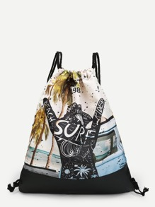 Coconut Tree Print Drawstring Backpack