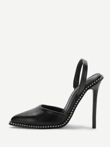 Studded Detail Slingback Stiletto Heels