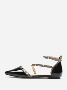 Pointed Toe Studded Decor Flats