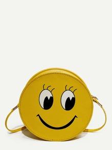 Emoji Print Round Shape Crossbody Bag
