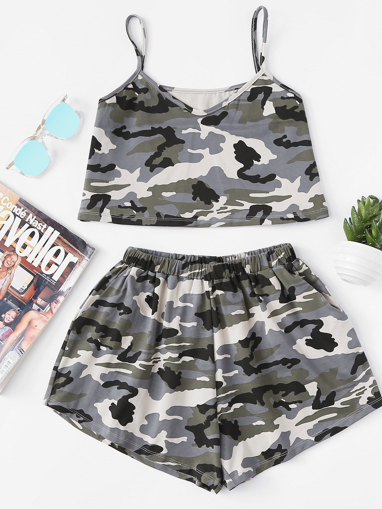 Camouflage V Neckline Cami Top With Shorts camouflage v neckline cami top with shorts