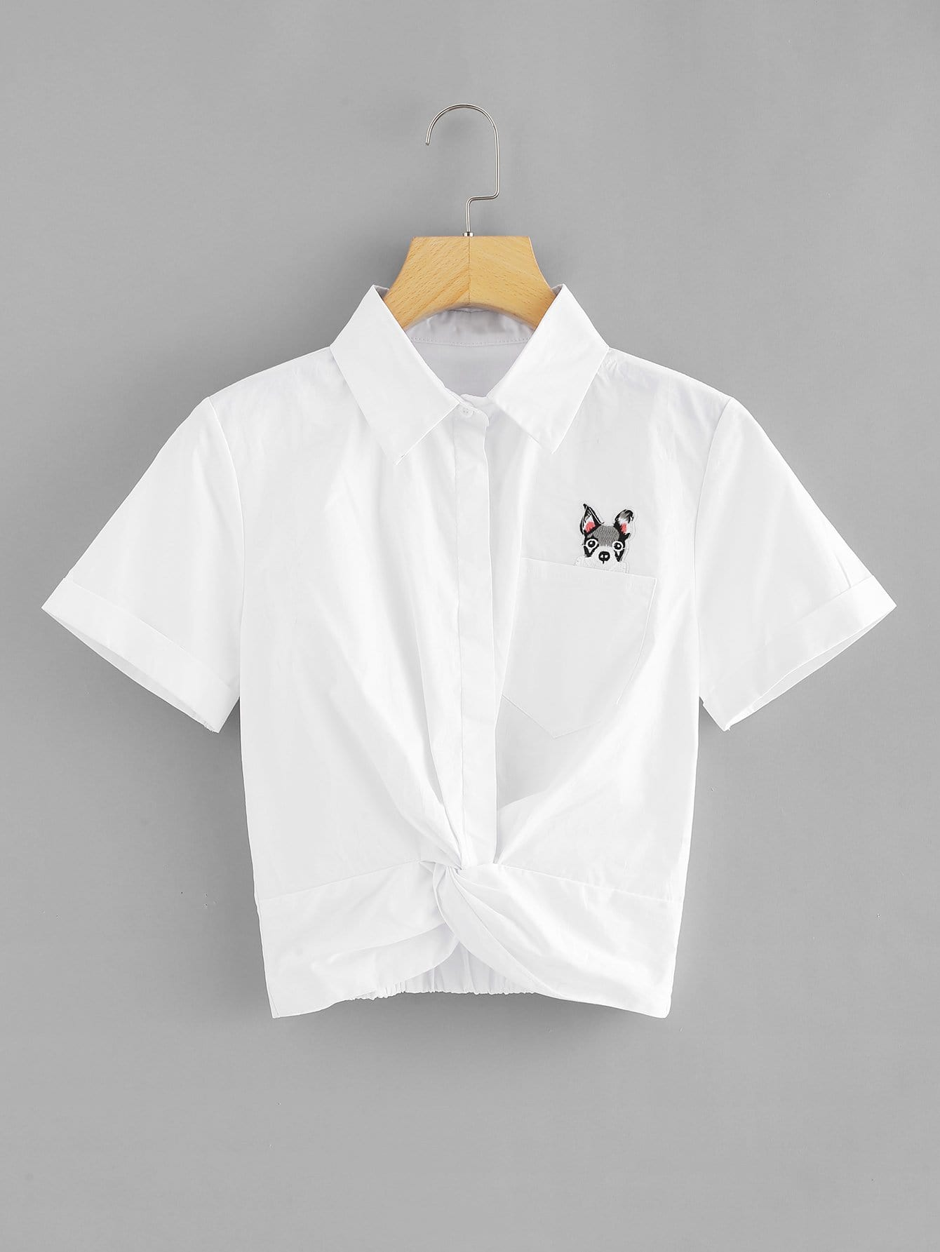 Dog Embroidered Patch Twist Front Top twist front elastic strip top