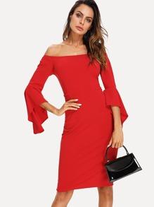 Off Shoulder Flounce Sleeve Dress