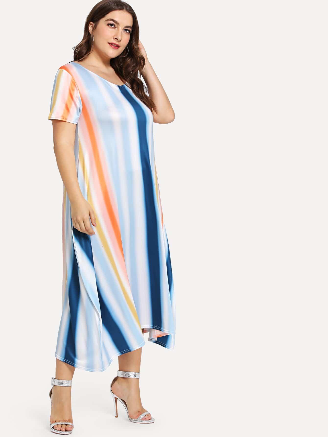 Plus Multi Striped Pocket Side Dress