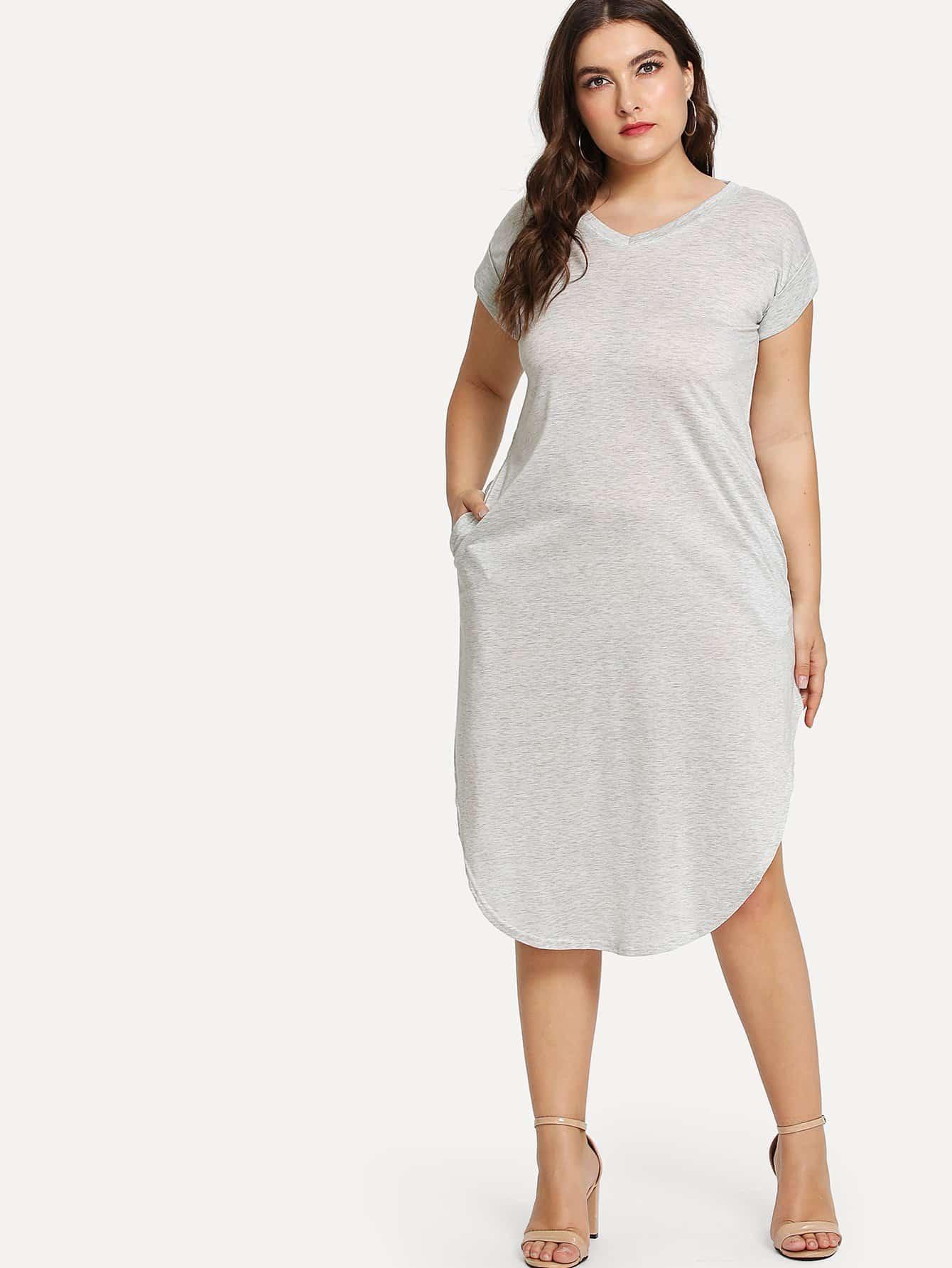 Curved Hem Solid Dress batwing sleeve pocket side curved hem textured dress