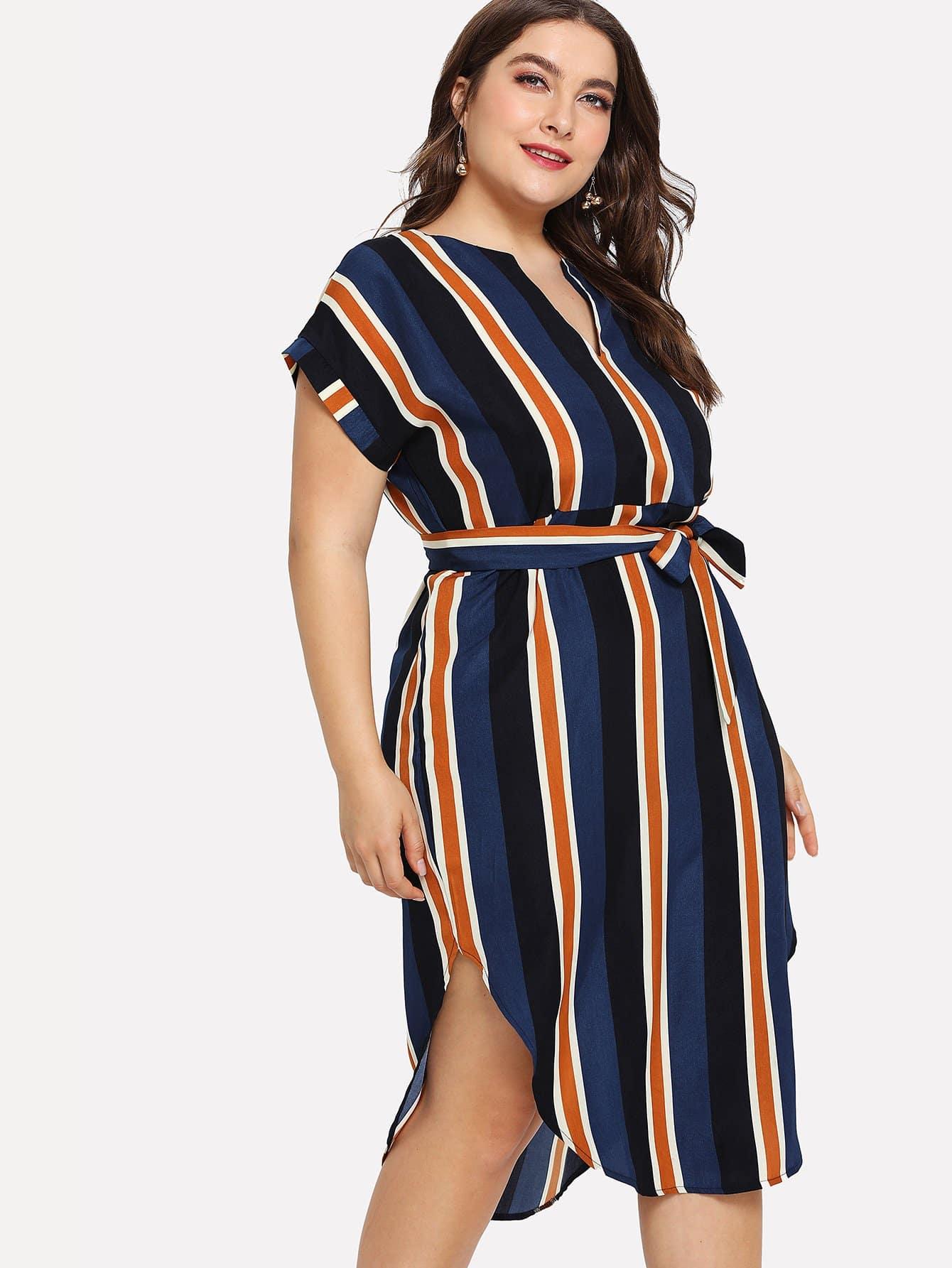 Curved Hem Tie Waist Striped Dress batwing sleeve pocket side curved hem textured dress